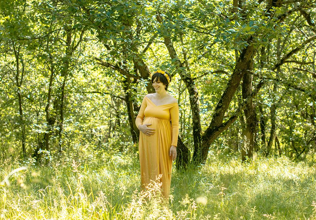 grossesse Toulouse lauragais occitanie Aude fantasy bucolique foret robe longue couronne fleurs